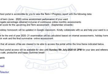 Term -1 progress report- summer holiday home work